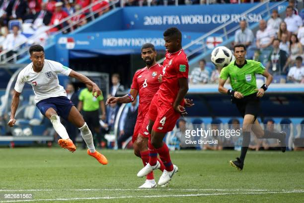 Jesse Lingard of England scores his sides third goal during the 2018 FIFA World Cup Russia group G match between England and Panama at Nizhny...
