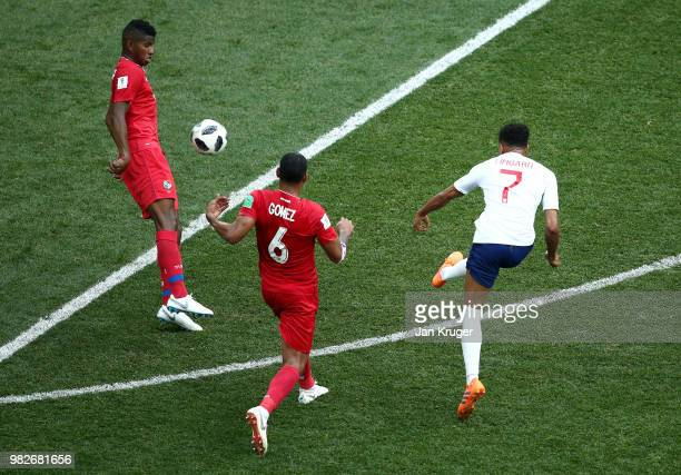 Jesse Lingard of England scores his team's third goal during the 2018 FIFA World Cup Russia group G match between England and Panama at Nizhny...