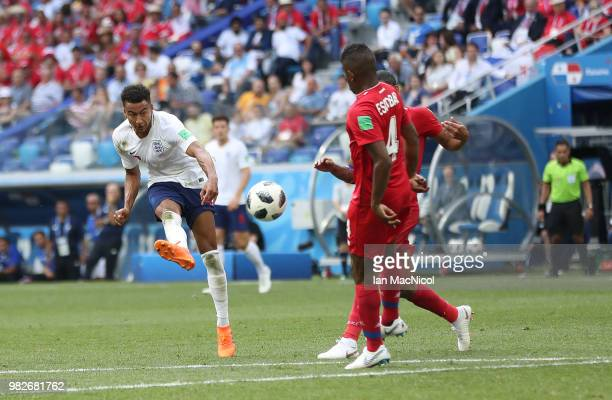 Jesse Lingard of England scores his team's third goal during the 2018 FIFA World Cup Russia group G match between England and Panama at Nizhniy...