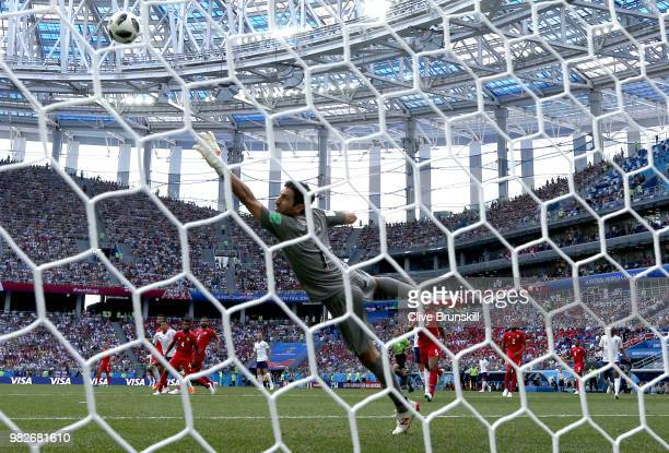 Jesse Lingard of England scores his team's third goal past Jaime Penedo of Panama during the 2018 FIFA World Cup Russia group G match between England...