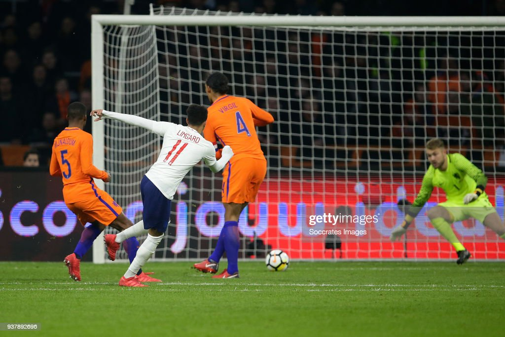 Jesse Lingard of England scores the first goal to make it 0-1, Georginio Wijnaldum of Holland, Virgil van Dijk of Holland, Jeroen Zoet of Holland during the International Friendly match between Holland v England at the Johan Cruijff Arena on March 23, 2018 in Amsterdam Netherlands