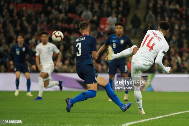 Jesse Lingard of England scores their 1st goal during the International Friendly match between England and United States at Wembley Stadium on...