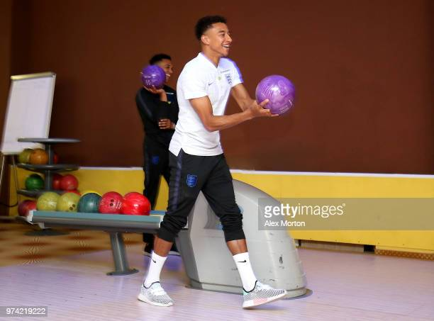 Jesse Lingard of England takes part in some bowling during the England media access at Spartak Zelenogorsk Stadium ahead of the FIFA World Cup 2018...