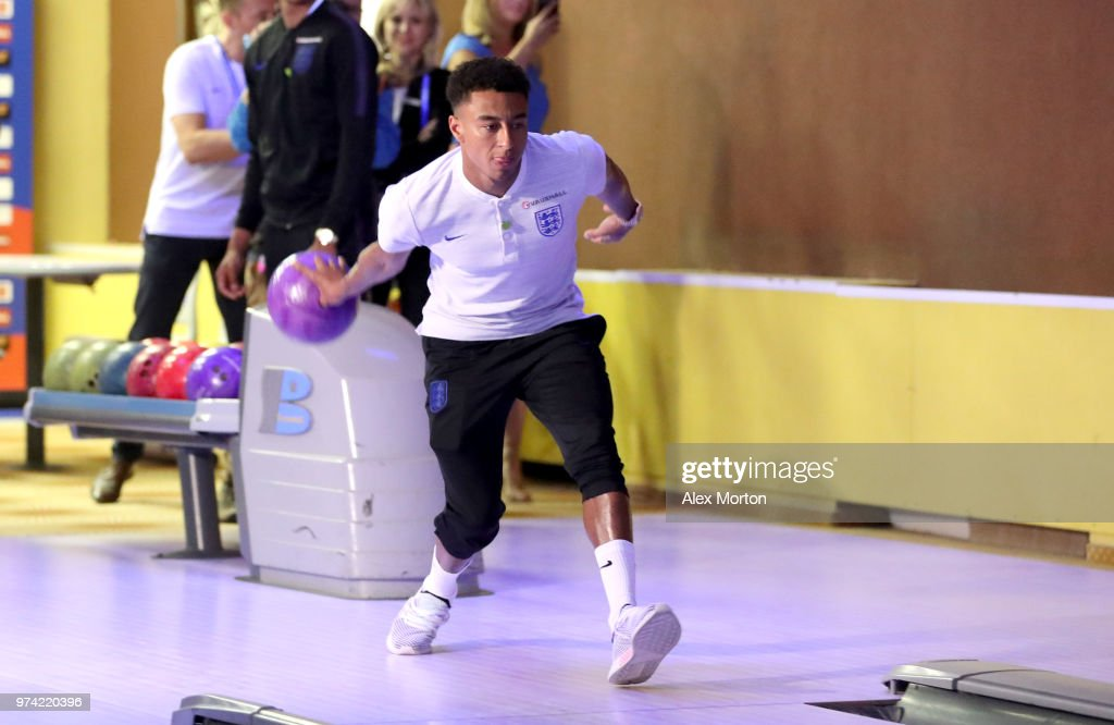 Jesse Lingard of England takes part in some bowling during the England media access at Spartak Zelenogorsk Stadium ahead of the FIFA World Cup 2018 on June 14, 2018 in Saint Petersburg, Russia.