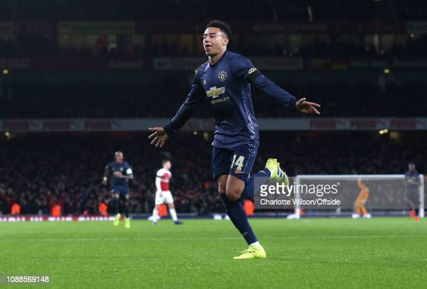 Jesse Lingard of Man Utd celebrates the second goal for United during the FA Cup Fourth Round match between Arsenal and Manchester United at Emirates...
