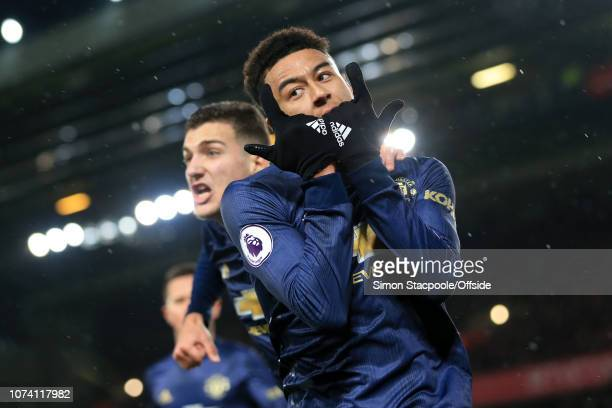 Jesse Lingard of Man Utd celebrates with teammate Diogo Dalot of Man Utd after scoring their 1st goal during the Premier League match between...