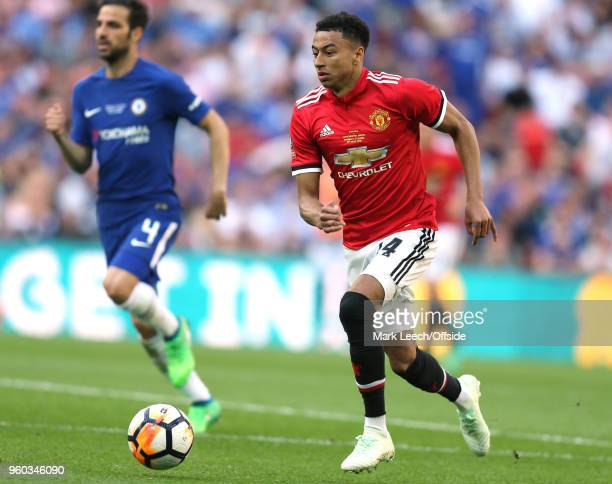 Jesse Lingard of Man Utd during the Emirates FA Cup Final between Chelsea and Manchester United at Wembley Stadium on May 19 2018 in London England