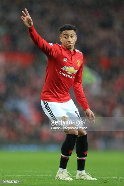 Jesse Lingard of Man Utd gestures during the Premier League match between Manchester United and West Bromwich Albion at Old Trafford on April 15 2018...