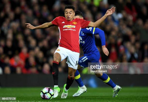 Jesse Lingard of Manchester nited in action during the Premier League match between Manchester United and Everton at Old Trafford on April 4 2017 in...