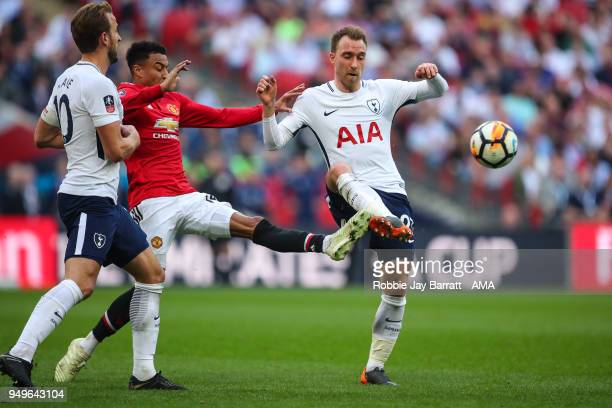 Jesse Lingard of Manchester United and Christian Eriksen of Tottenham Hotspur during The Emirates FA Cup Semi Final match between Manchester United...