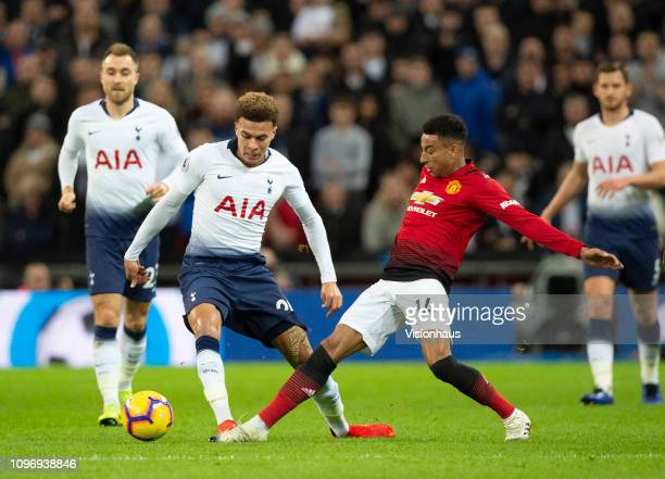Jesse Lingard of Manchester United and Dele Alli of Tottenham Hotspur during the Premier League match between Tottenham Hotspur and Manchester United...