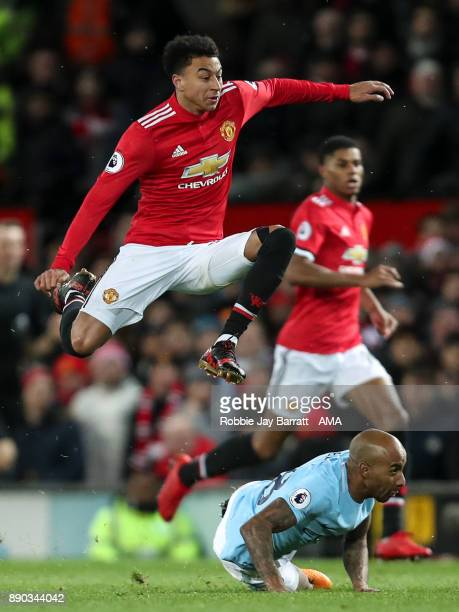 Jesse Lingard of Manchester United and Fabian Delph of Manchester City during the Premier League match between Manchester United and Manchester City...