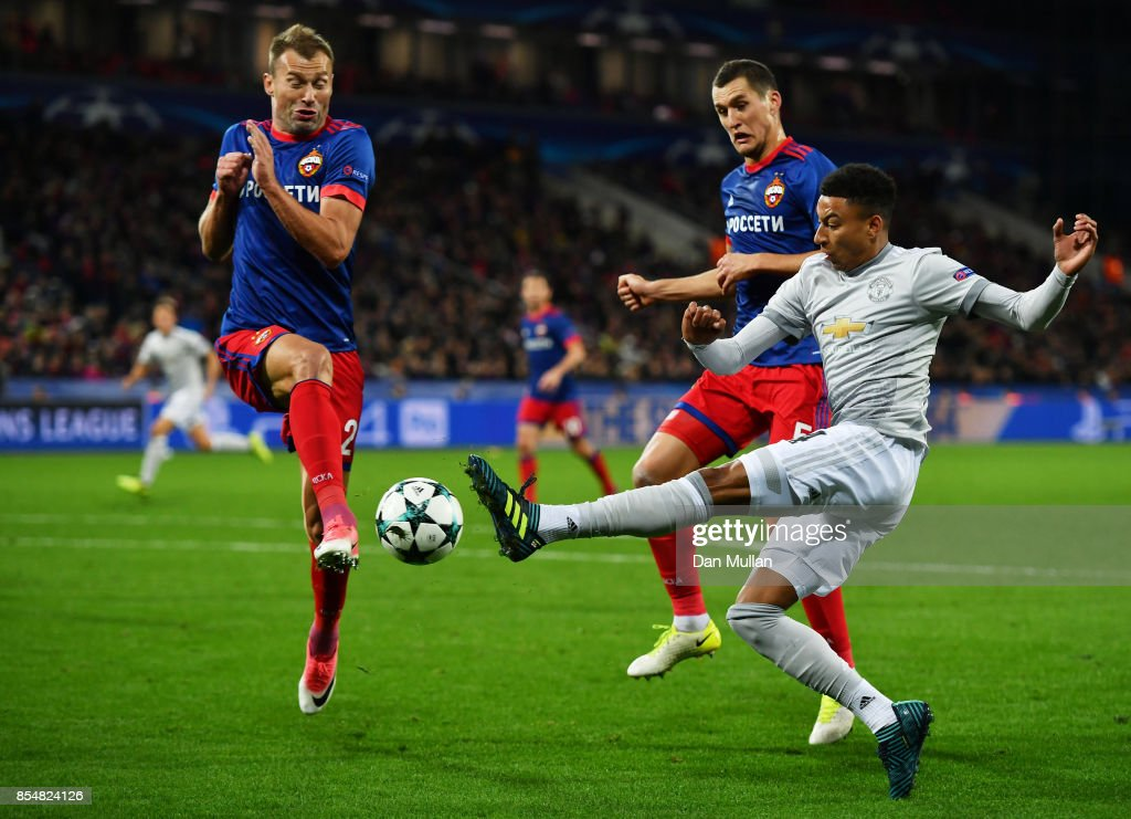 Jesse Lingard of Manchester United and Mario Fernandes of CSKA Moscow in action during the UEFA Champions League group A match between CSKA Moskva and Manchester United at WEB Arena on September 27, 2017 in Moscow, Russia.