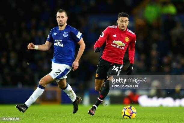 Jesse Lingard of Manchester United and Morgan Schneiderlin of Everton in action during the Premier League match between Everton and Manchester United...