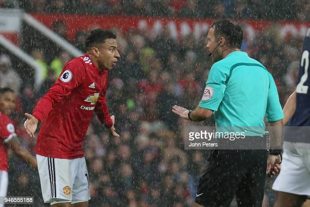 Jesse Lingard of Manchester United appeals for a corner during the Premier League match between Manchester United and West Bromwich Albion at Old...
