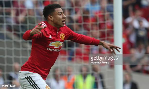 Jesse Lingard of Manchester United appeals for a decision during the Emirates FA Cup semifinal match between Manchester United and Tottenham Hotspur...