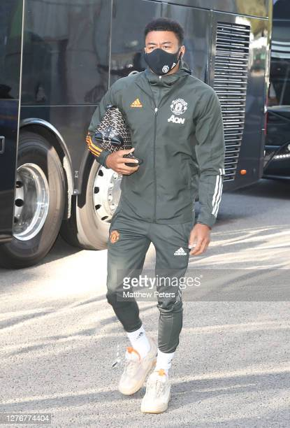 Jesse Lingard of Manchester United arrives ahead of the Premier League match between Brighton Hove Albion and Manchester United at American Express...