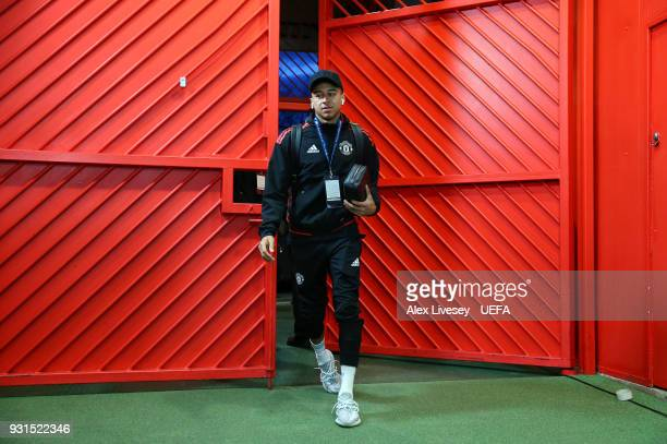 Jesse Lingard of Manchester United arrives at Old Trafford prior to the UEFA Champions League Round of 16 Second Leg match between Manchester United...