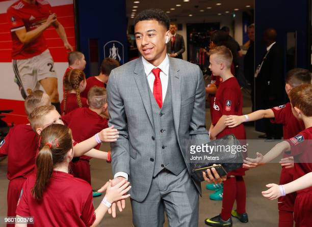 Jesse Lingard of Manchester United arrives at Wembley ahead of the Emirates FA Cup Final match between Manchester United and Chelsea at Wembley...