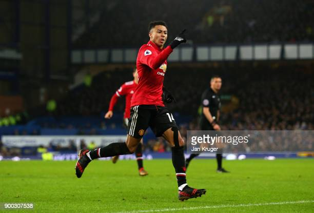 Jesse Lingard of Manchester United celebrates after he scores his sides second goal during the Premier League match between Everton and Manchester...