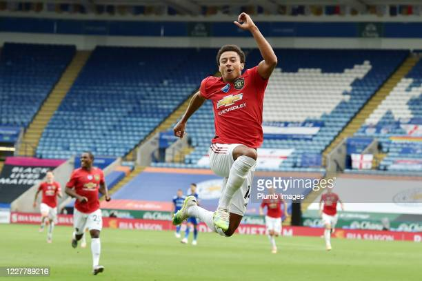 Jesse Lingard of Manchester United celebrates after putting them 20 ahead during the Premier League match between Leicester City and Manchester...