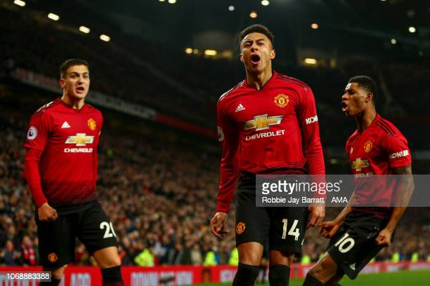 Jesse Lingard of Manchester United celebrates after scoring a goal to make it 22 during the Premier League match between Manchester United and...