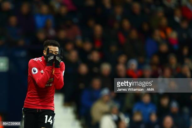 Jesse Lingard of Manchester United celebrates after scoring a goal to make it 20 during the Premier League match between West Bromwich Albion and...