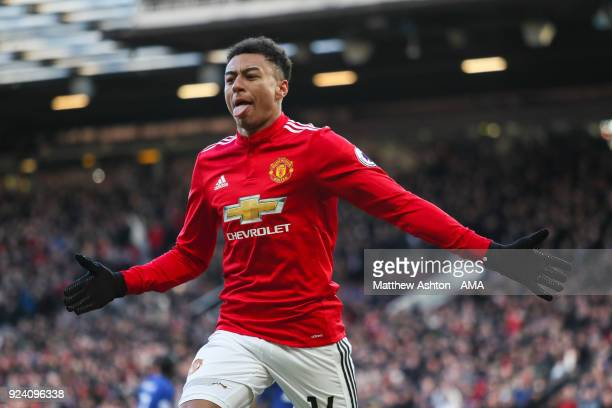 Jesse Lingard of Manchester United celebrates after scoring a goal to make it 21 during the Premier League match between Manchester United and...