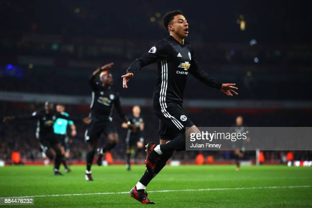 Jesse Lingard of Manchester United celebrates after scoring his sides second goal during the Premier League match between Arsenal and Manchester...