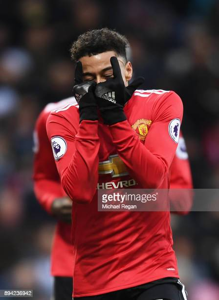 Jesse Lingard of Manchester United celebrates after scoring his sides second goal during the Premier League match between West Bromwich Albion and...