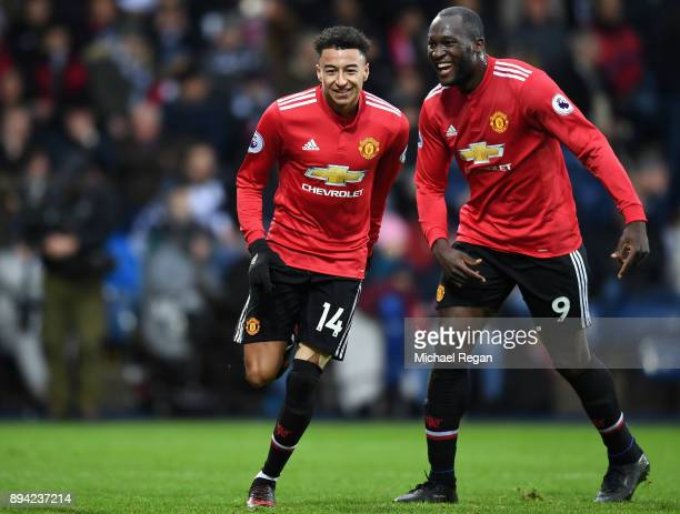 Jesse Lingard of Manchester United celebrates after scoring his sides second goal with teammate Romelu Lukaku during the Premier League match between...
