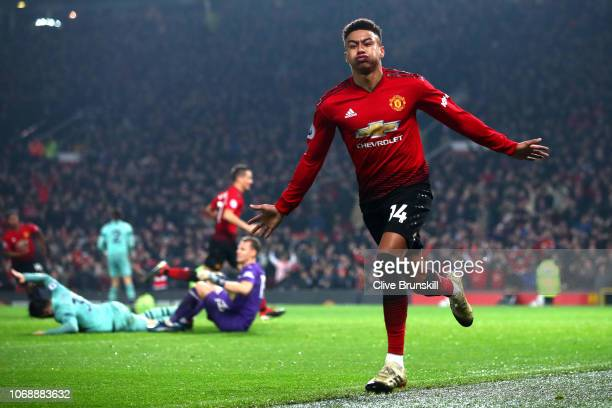 Jesse Lingard of Manchester United celebrates after scoring his team's second goal during the Premier League match between Manchester United and...
