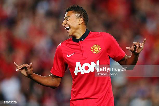Jesse Lingard of Manchester United celebrates after scoring the opening goal during the match between the A-League All-Stars and Manchester United at...