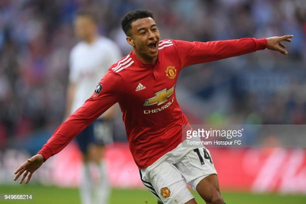 Jesse Lingard of Manchester United celebrates Ander Herrera's winner during The Emirates FA Cup Semi Final between Manchester United and Tottenham...