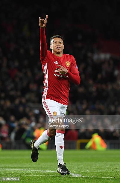 Jesse Lingard of Manchester United celebrates as he scores their fourth goal during the UEFA Europa League Group A match between Manchester United FC...
