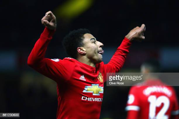 Jesse Lingard of Manchester United celebrates as he scores their fourth goal during the Premier League match between Watford and Manchester United at...