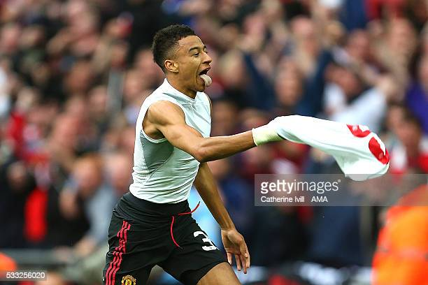 Jesse Lingard of Manchester United celebrates scoring a goal in extratime to make the score 12 during The Emirates FA Cup final match between...