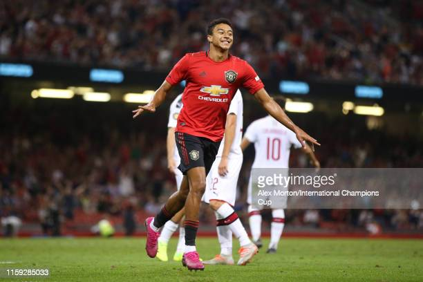 Jesse Lingard of Manchester United celebrates scoring a goal to make the score 22 during the 2019 International Champions Cup match between...