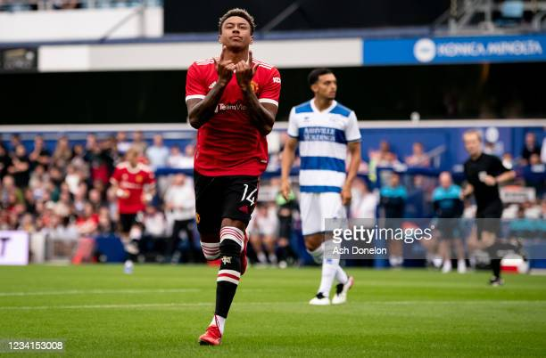 Jesse Lingard of Manchester United celebrates scoring a goal to make the score 0-1 during the pre-season friendly match between Queens Park Rangers...