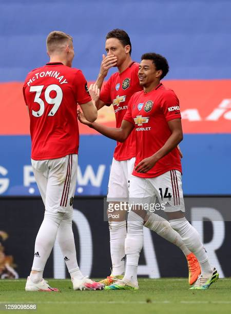 Jesse Lingard of Manchester United celebrates scoring his sides second goal during the Premier League match between Leicester City and Manchester...