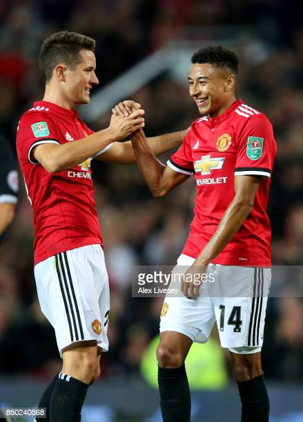 Jesse Lingard of Manchester United celebrates scoring his sides third goal with Ander Herrera of Manchester United during the Carabao Cup Third Round...