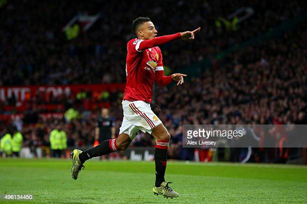 Jesse Lingard of Manchester United celebrates scoring his team's first goal during the Barclays Premier League match between Manchester United and...