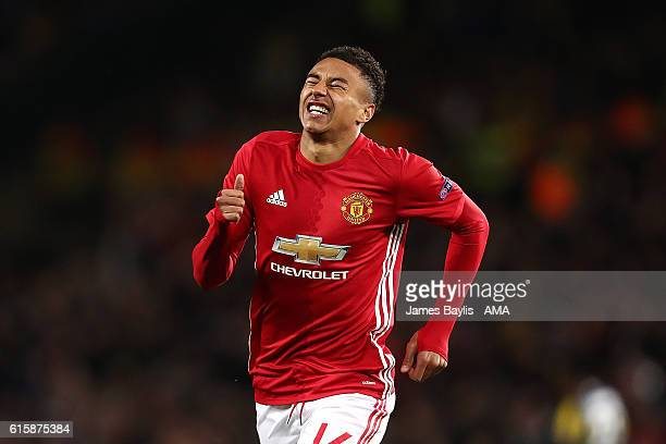 Jesse Lingard of Manchester United celebrates scoring his team's fourth goal to make the score 40 during the UEFA Europa League match between...
