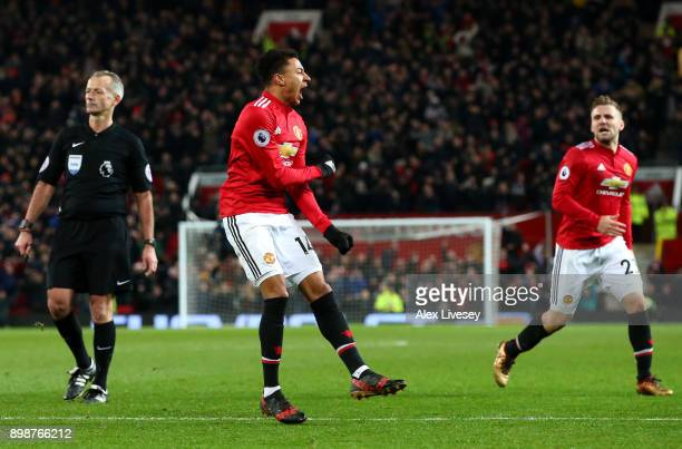 Jesse Lingard of Manchester United celebrates scoring the 2nd Manchester United goal with Luke Shaw during the Premier League match between...