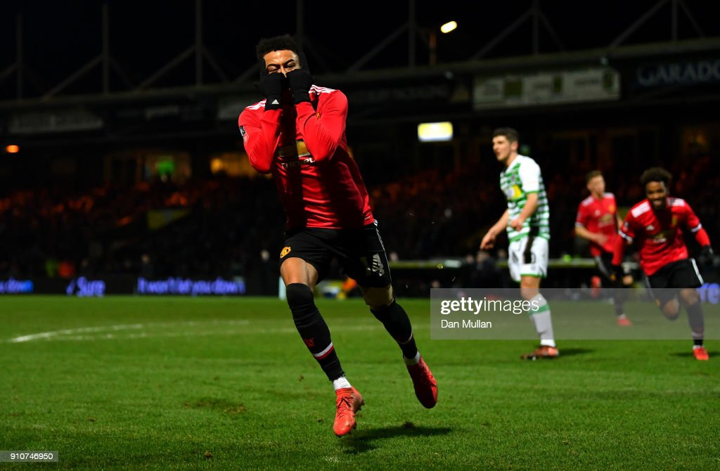 Jesse Lingard of Manchester United celebrates scoring the 3rd Manchester United goal during The Emirates FA Cup Fourth Round match between Yeovil Town and Manchester United at Huish Park on January 26, 2018 in Yeovil, England.