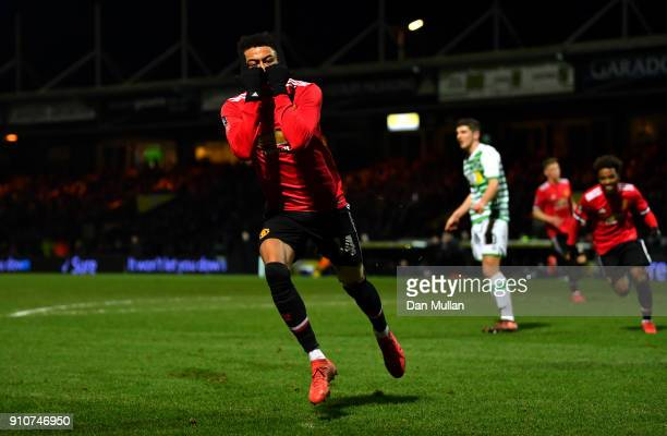 Jesse Lingard of Manchester United celebrates scoring the 3rd Manchester United goal during The Emirates FA Cup Fourth Round match between Yeovil...