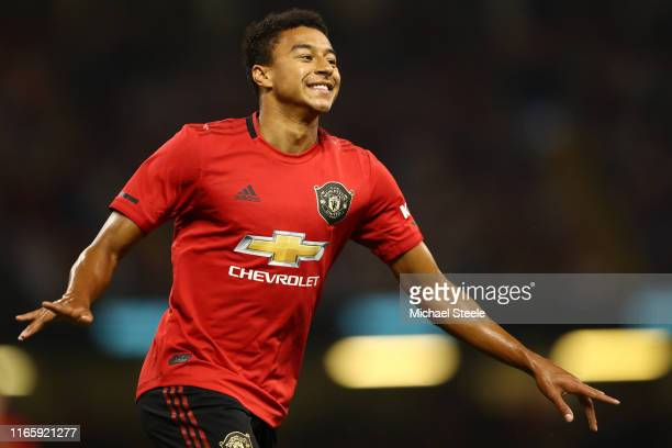 Jesse lingard of Manchester United celebrates scoring the equaling goal during the 2019 International Champions Cup match between Manchester United...