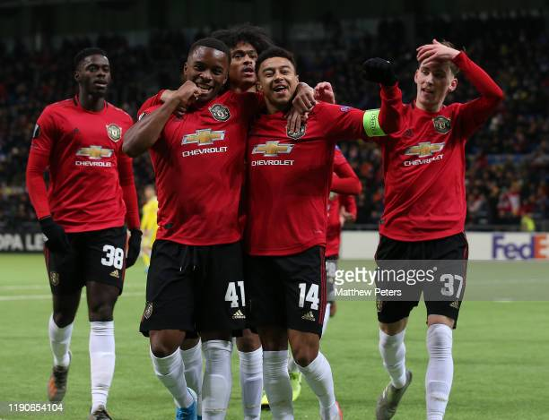 Jesse Lingard of Manchester United celebrates scoring their first goal during the UEFA Europa League group L match between FK Astana and Manchester...