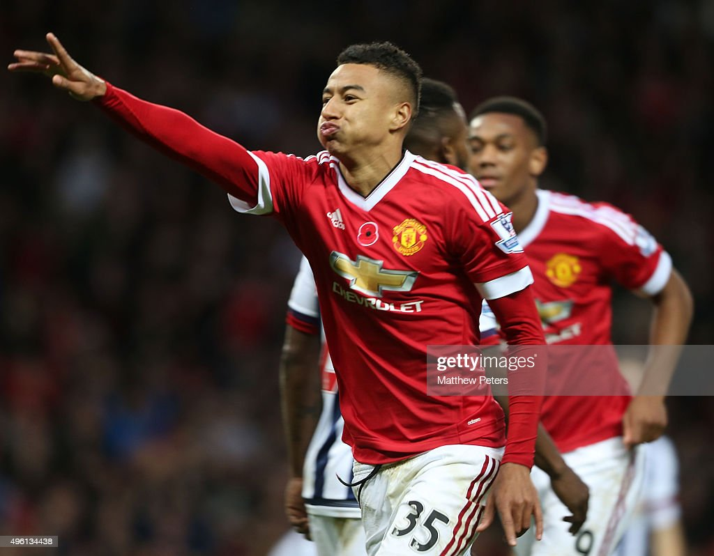 Jesse Lingard of Manchester United celebrates scoring their first goaln during the Barclays Premier League match between Manchester United and West Bromwich Albion at Old Trafford on November 7, 2015 in Manchester, England.