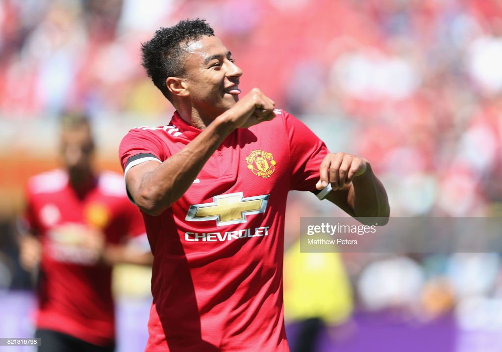 Jesse Lingard of Manchester United celebrates scoring their first goal during the International Champions Cup 2017 pre-season friendly match between Real Madrid and Manchester United at Levi's Stadium on July 23, 2017 in Santa Clara, California.
